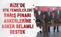 Rize'de Stk temsilcilerinden Barış Pınarı Askerlere Destek