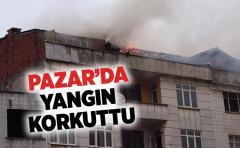 Pazar'da Yangın Korkuttu