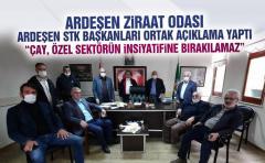 Ardeşen Ziraat odası ve STK başkanları ortak bir açıklama yaptı