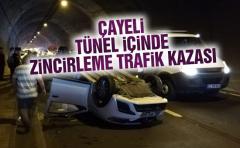 Rize'de Tünelde Zincirleme Trafik Kazası