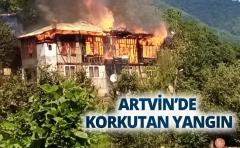 ARTVİN'DE KORKUTAN YANGIN