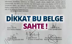 DİKKAT, BU BELGE SAHTE