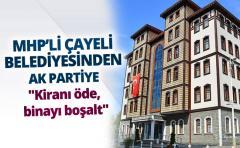 MHP'Lİ ÇAYELİ BELEDİYESİNDEN AK PARTİ'YE ''Kiranı öde, binayı boşalt''