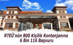 RTEÜ'nün 800 Kişilik Kontenjanına 6 Bin 116 Başvuru