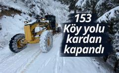 Rize'de 153 köy yolu kardan kapandı