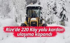 Rize'de 220 Köy yolu kardan ulaşıma kapandı